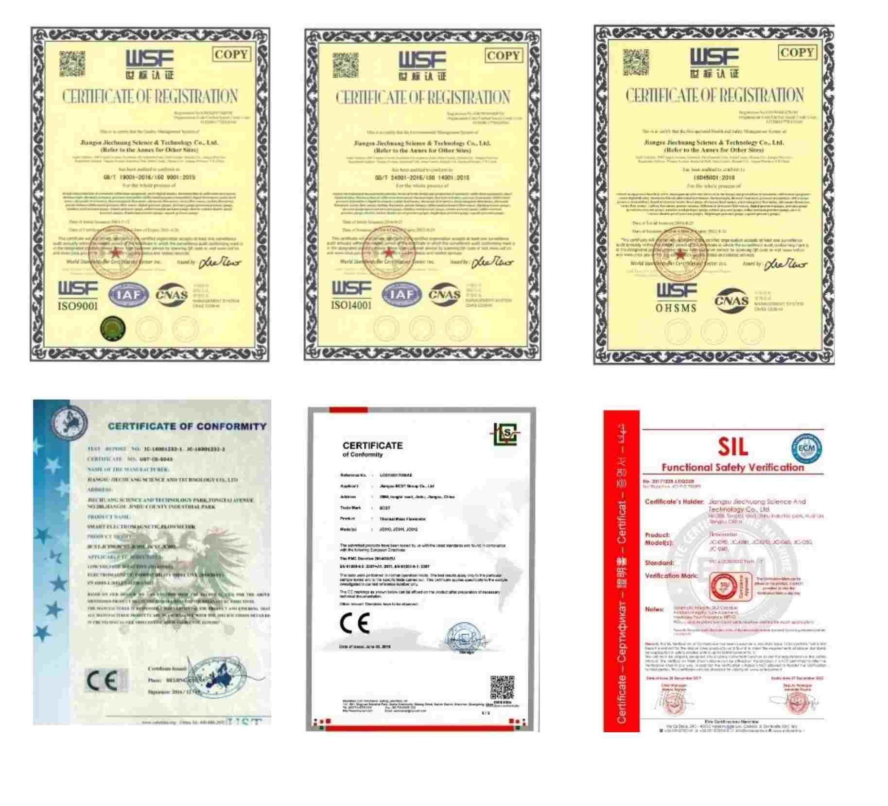 Flowmeter -certificates