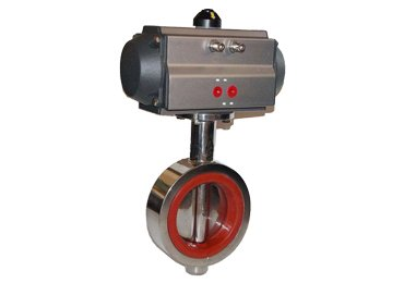 Pneumatic wafer connection butterfly valve