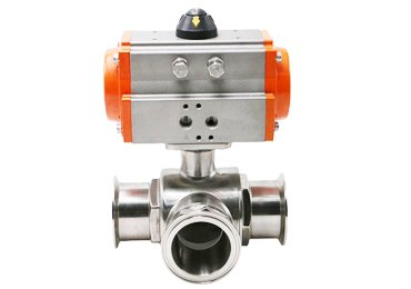 Sanitary-three-way-pneumatic-ball-valve