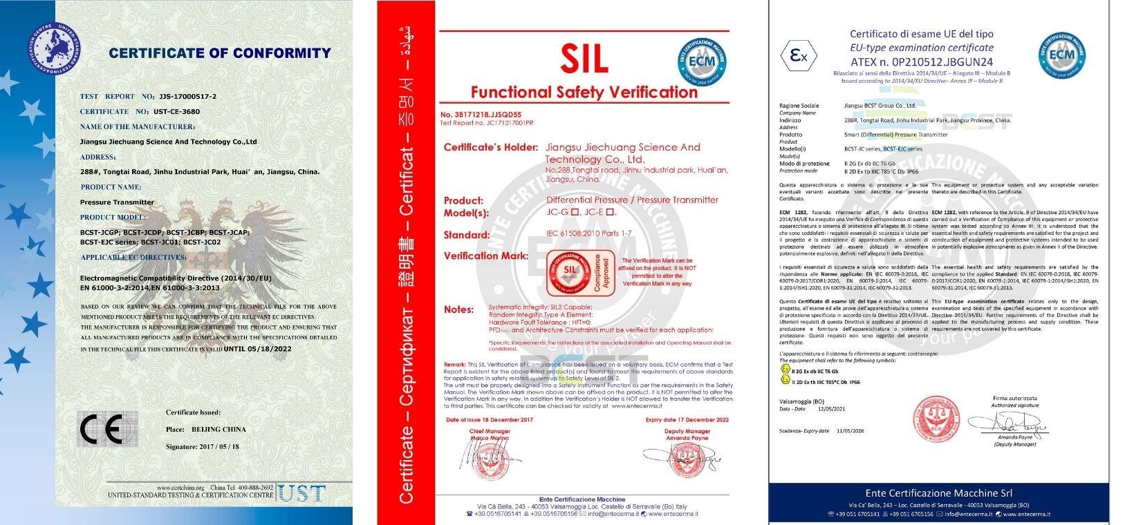 Certificate-hart pressure transmitter