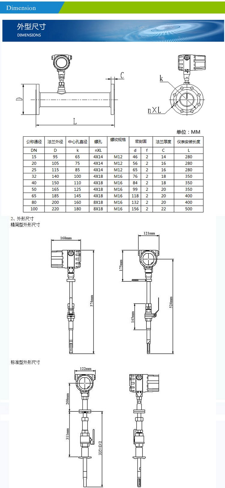Dimension-thermal mass fowmeter