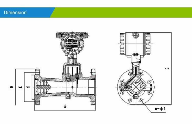 Natural-gas-vortex-flowmeter-dimension