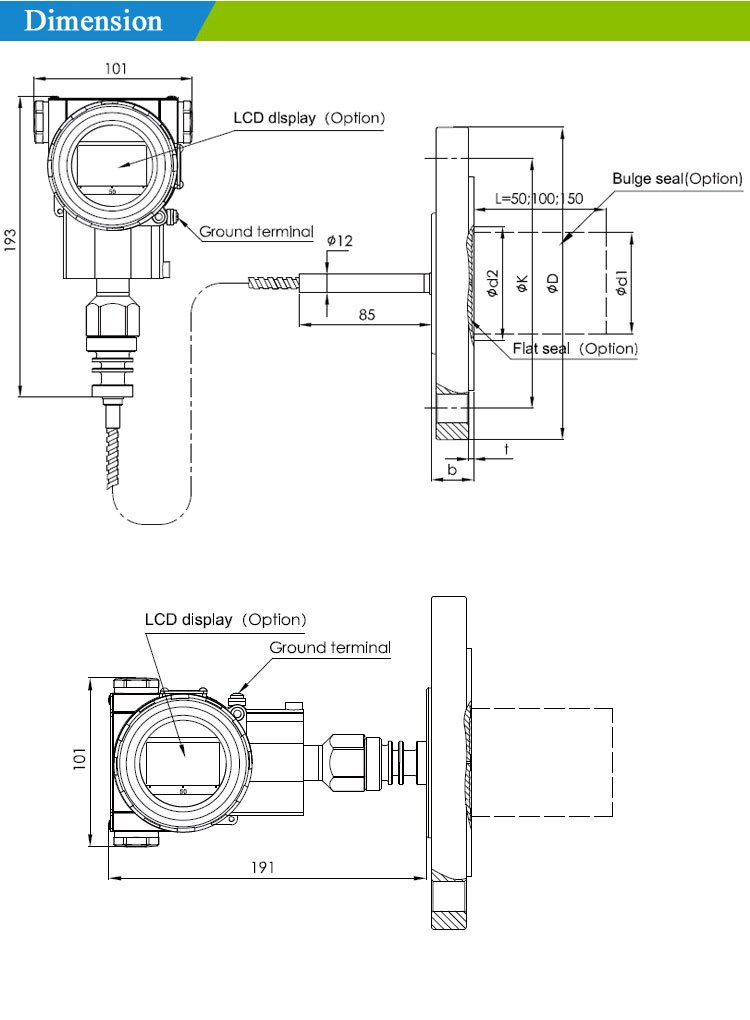 dimension1 -Remote Sealed Gauge Pressure Transmitter