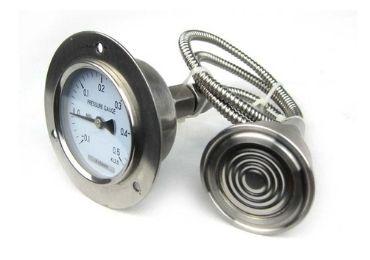 Capillary sanitary diaphragm pressure gauge