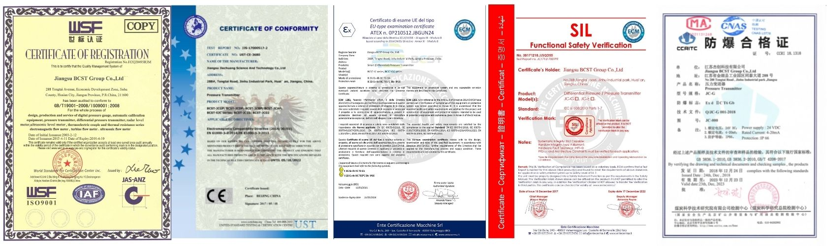 Certificate for pressure transmitter