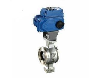 Wafer electric control V ball valve